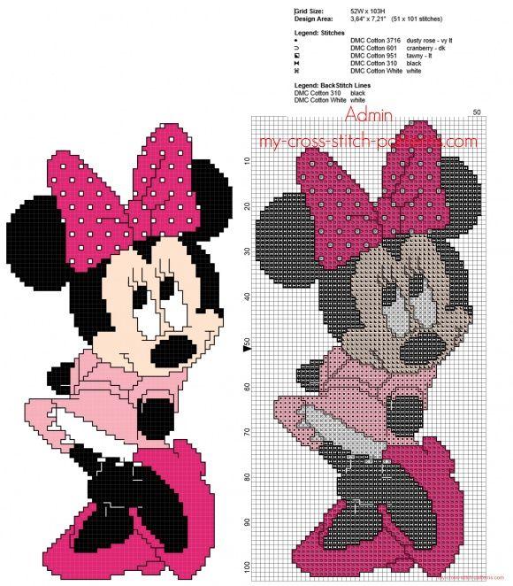 minnie mouse disney avec une robe rose grille point de croix