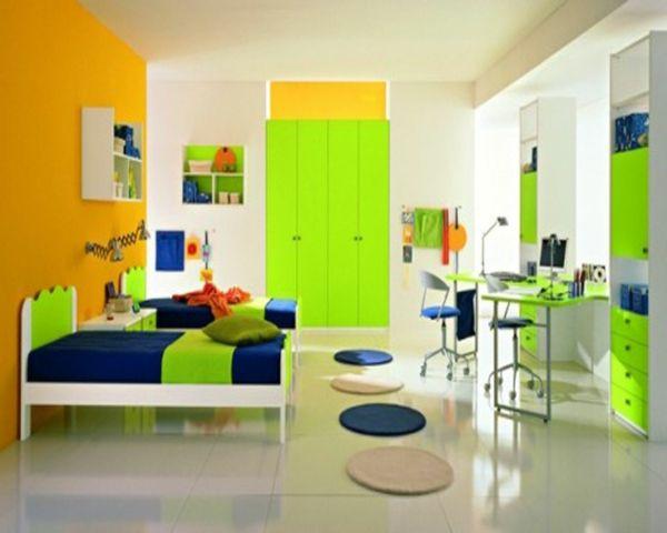 idee kinderzimmer gestaltung grelles grün dunkles blau - babyzimmer orange grn