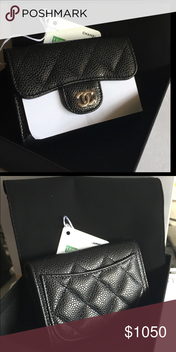 17ccfbd1283df4 BNWT 18C Chanel Card Holder XL with back pocket BNWT 18C Chanel Card Holder  XL with back pocket in black iridescent caviar with GHW Comes with  everything ...