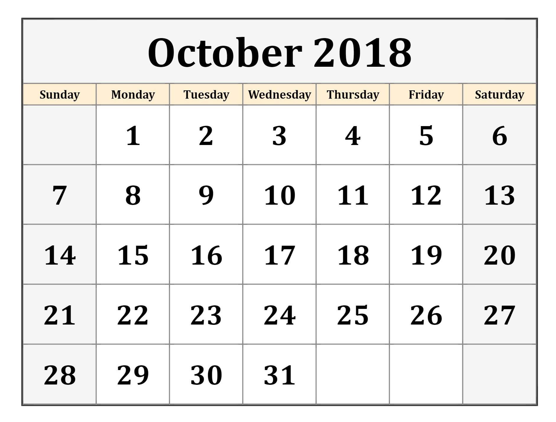 Free Printable October Calendar Templates Blank