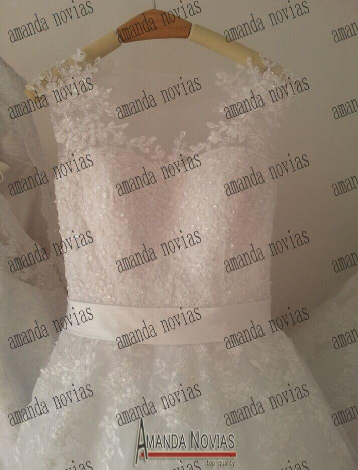 Aliexpress.com: Compre Gracioso Lace Long Trail vestidos de noiva sereia 2014 de confiança rendas vestido topo fornecedores em Amanda Novias Wedding Dress Factory