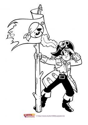 Kleurplaat 8 Piet Piraat Piraatjes 2016 Pinterest
