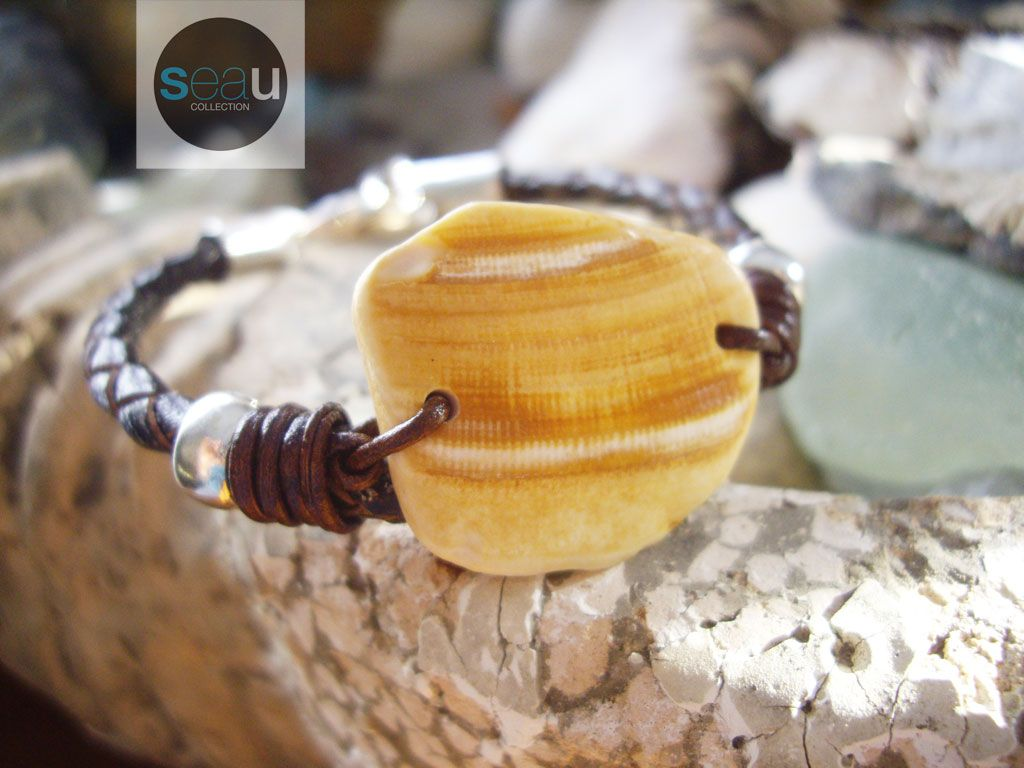 """Roller shell  - Surfstyle bracelet – Jewelry Unisex – Italian brown leather and sterling silver clasp - Length of bracelet including clasps: 7 1/2 """"(19cm) - Unique piece - $80.00 - See this on seaucollection.com"""