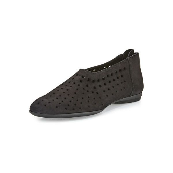 Sesto Meucci Avis Laser-Cut Nubuck Flat, Black ($129) ❤ liked on Polyvore featuring shoes, flats, flat pumps, nubuck leather shoes, nubuck shoes, black shoes and flat shoes