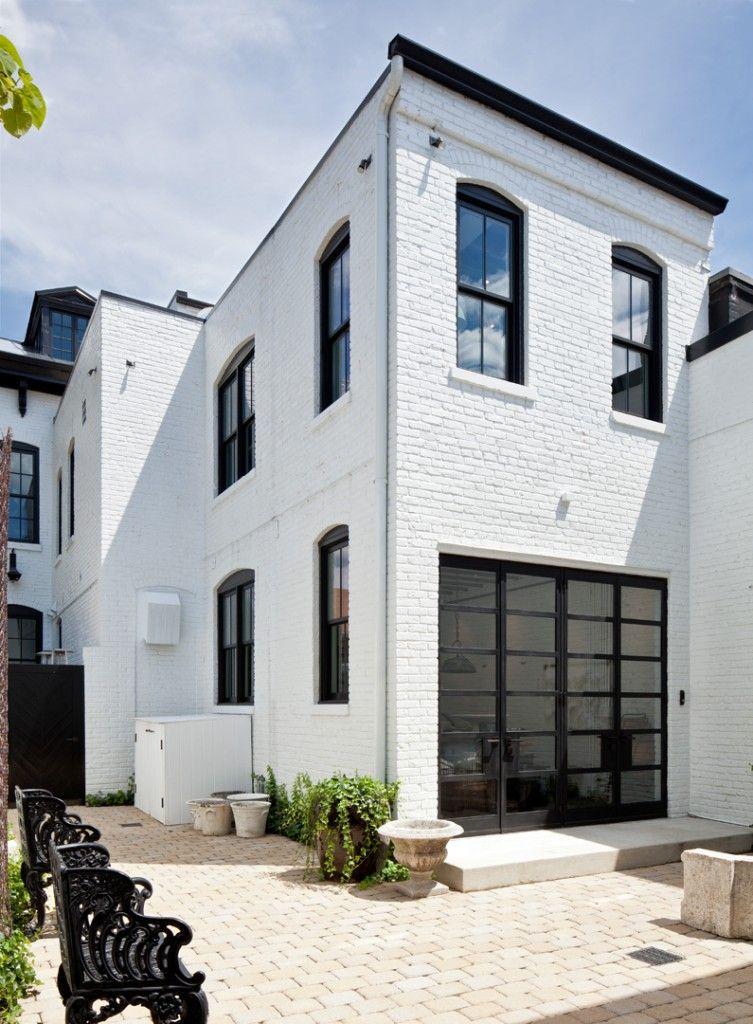Dark Grey House Exterior White Trim Painted Bricks