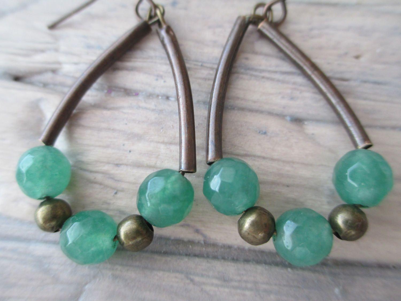 Emereld  Green Brass Copper Earrings Boho Summer Earrings  Dangle Hoop  Earrings Jewelry by MillyLillyDesigns on Etsy
