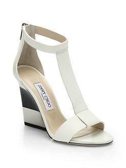 Jimmy Choo - Maxy Leather T-Strap Platform Wedge Sandals