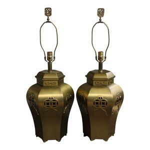 SOLD - Pair of Mid-Century Brass Chinoiserie Ginger Jar Lamps available at www.Jackson-Kline.com