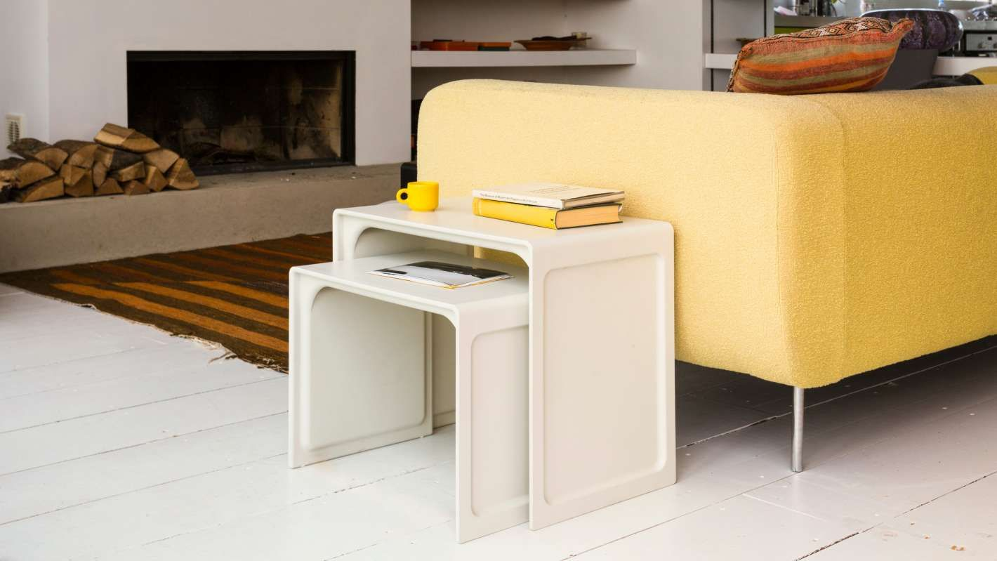 Off White Side Table Beside A Yellow Sofa White Side Tables Table White Table