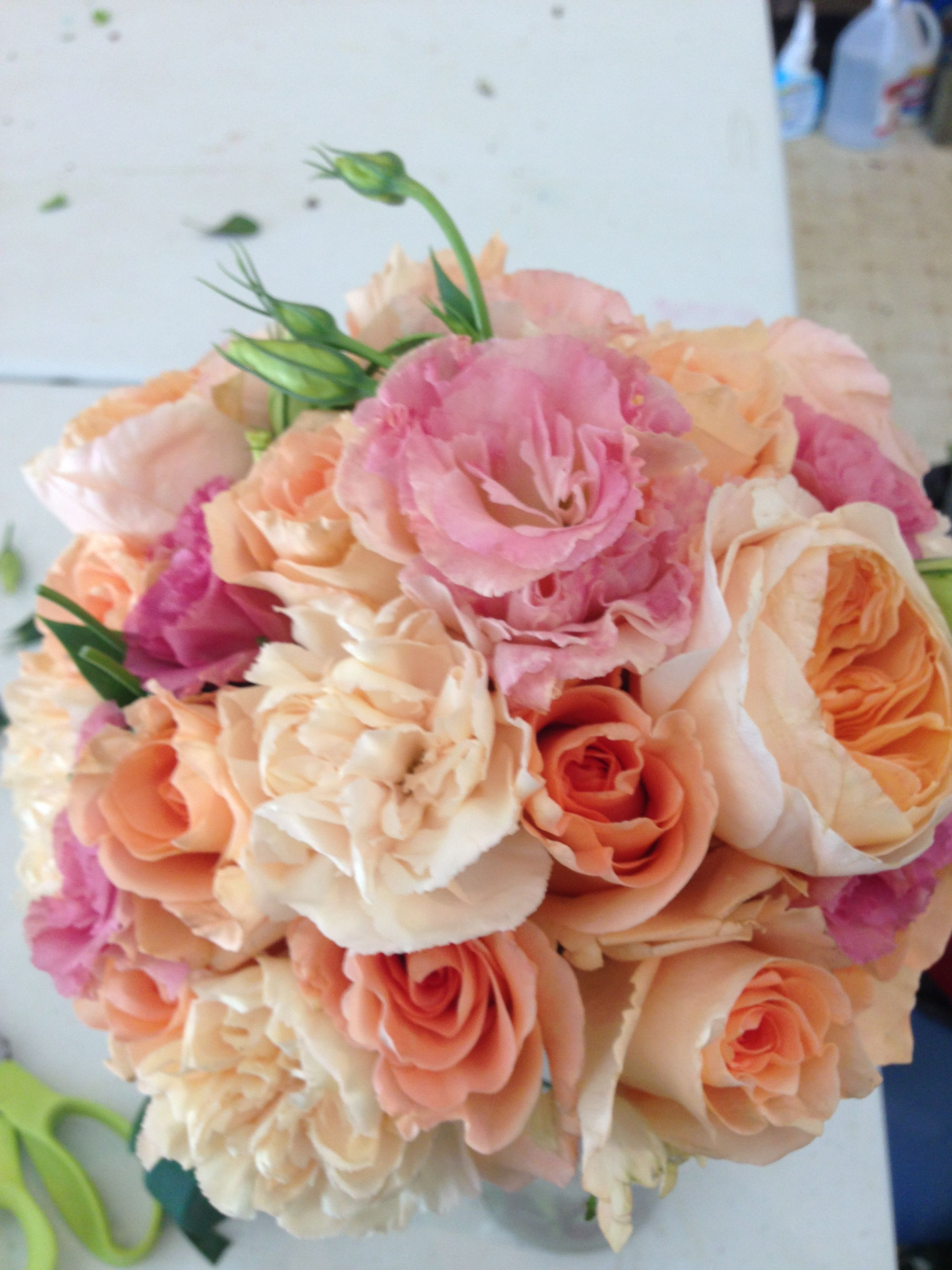 bridal bouquet peach, pink, carnations, roses, garden roses ...