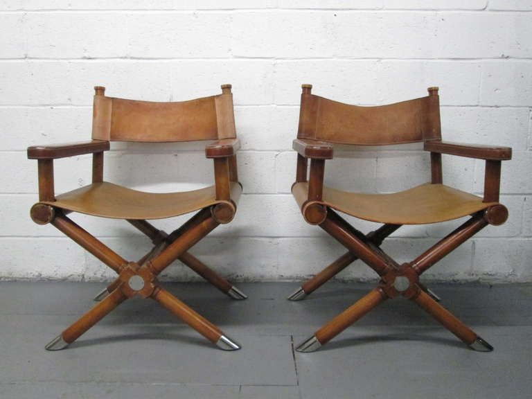 Wooden Directors Chairs pair of ralph lauren leather director's chairs | armchairs, modern