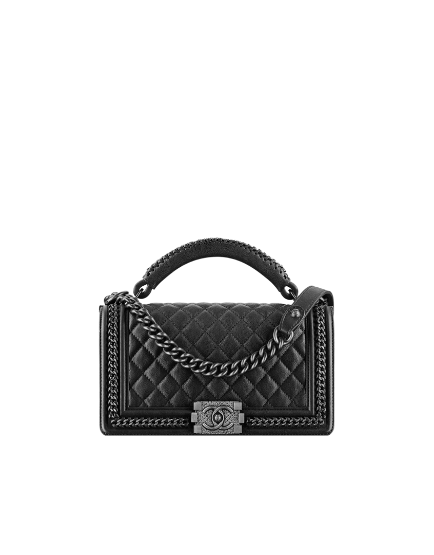 049c6581a34022 Boy CHANEL flap bag with handle, calfskin & ruthenium metal-black - CHANEL