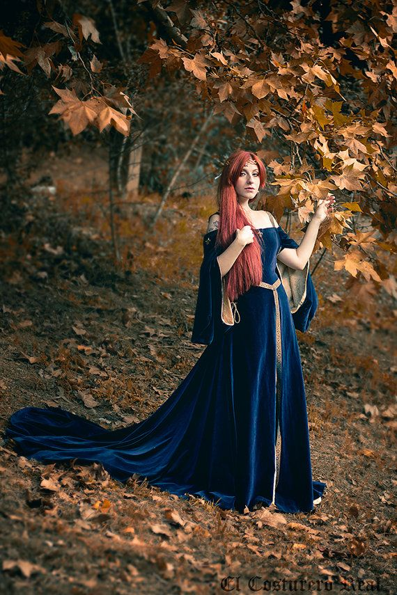 Photo of Medieval Dress Purple Violet Velvet Celtic Elven Gown Preraphaelite Dress Elvish, Medieval, Pre- Raphaelite, Gothic, Faery Bridal Costume
