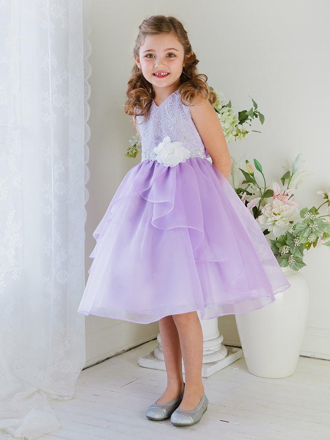 2306cf80c72 White Lilac Beautiful Sleeveless Lace and Ruffled Organza Skirt Flower Girl  Dresses SKU   KC1241LC