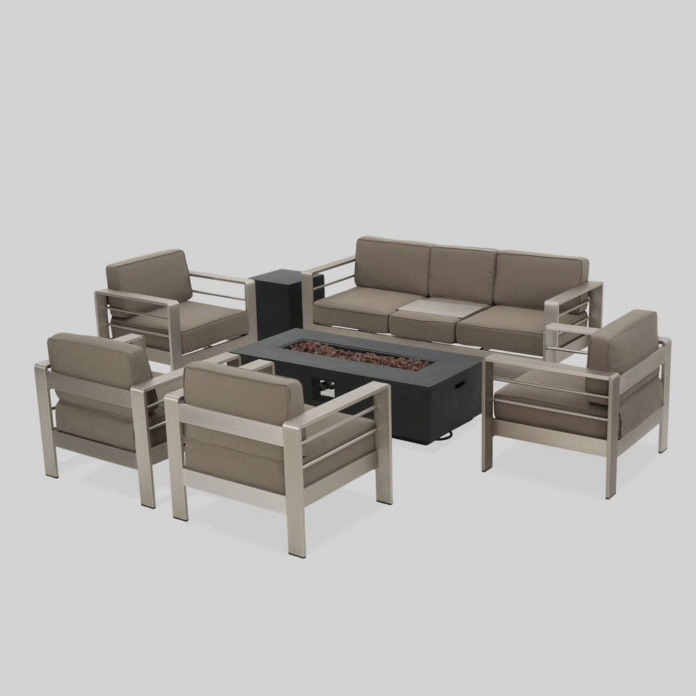Cape Coral 7pc Aluminum And Mgo Firepit Set Dark Gray Khaki Christopher Knight Home Sofa Set Fire Pit Patio Set Furniture