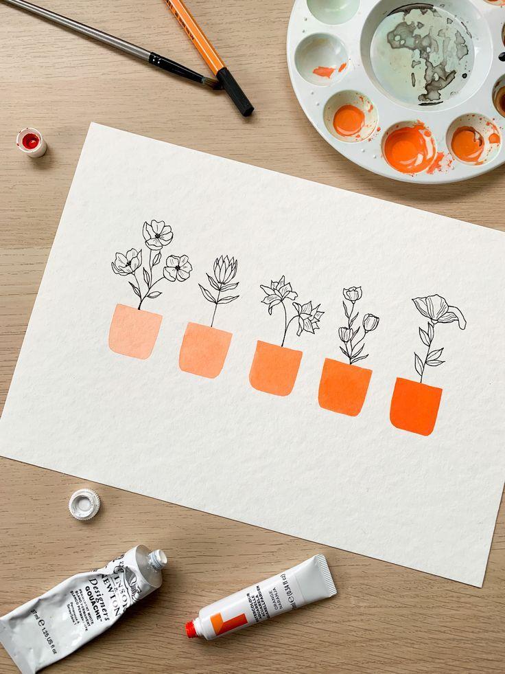 orange ombre pot plants – floral watercolour painting ♥