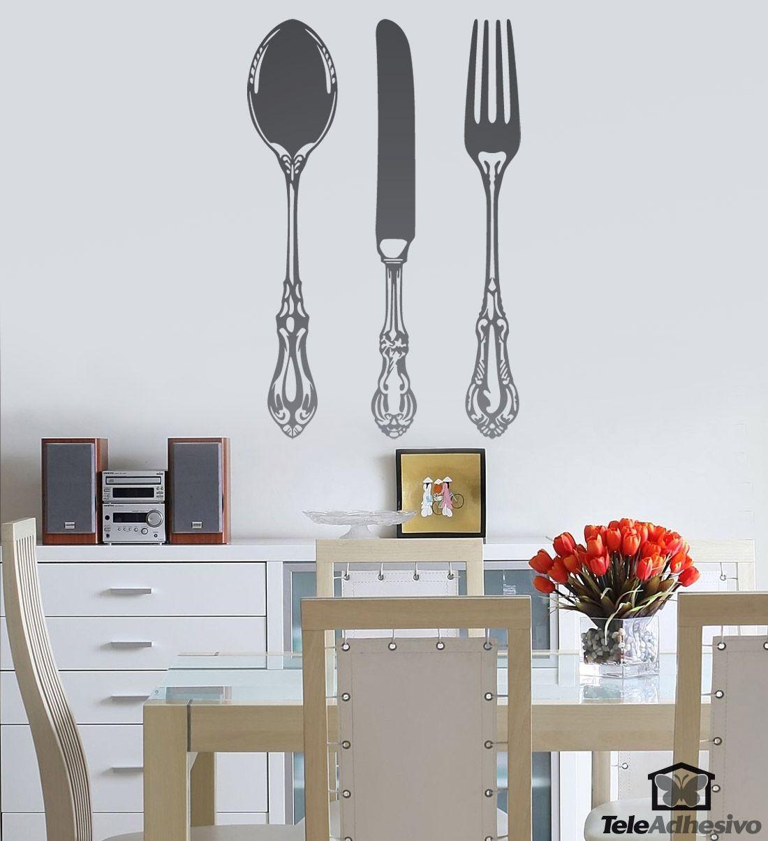 Vinilo decorativo Cuchara, cuchillo y tenedor  Vinilos, Vitrinas