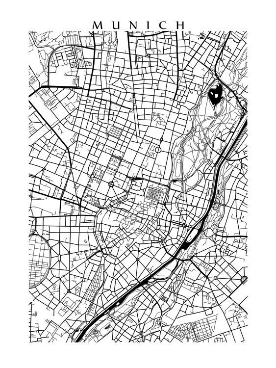München Karte Schwarz Weiß.Munich Map Germany Poster Print Black And White Products
