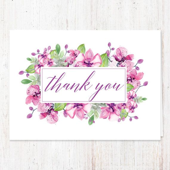 Thank You Note / Purple Floral Orchid Design / Folded Card / Set of