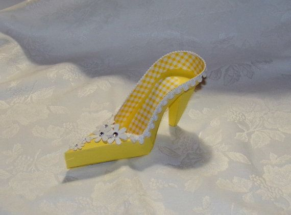 Couture Yellow Gingham High Heel Paper Shoe by apreciousmemory, $7.00