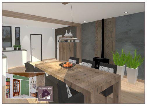 Eetkamer en keuken ruimte van maken l oud huis modern interieur