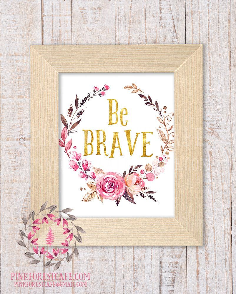 be brave woodland boho nursery decor baby girl wall art shower