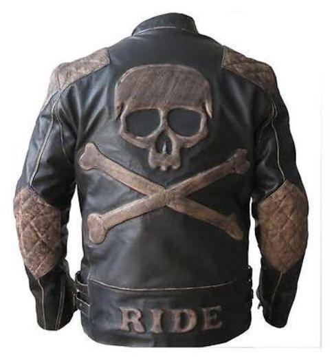 Skull Ride Distressed Cafe Black Racer Motorcycle Biker Leather Jacket for Men
