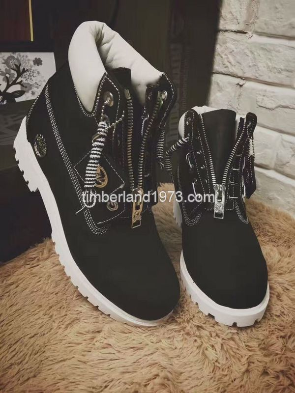 official photos b8695 274af 2017 Fashion Timberland Boots Women 6 Inch Zipper In Black and White   78.00