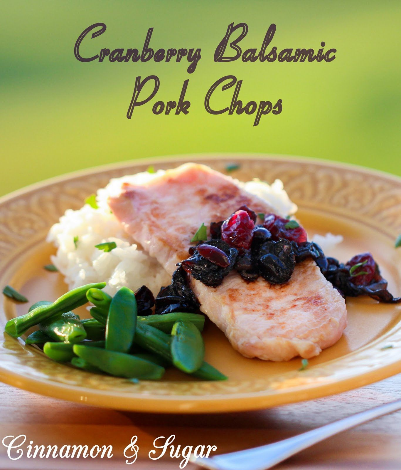 Using only 5 ingredients, Cranberry Balsamic Pork Chops are quick to cook with a stunning, flavorful pan sauce that will elevate any dinner! Recipe shared with permission granted by Peg Cochran, author of BERRY THE HATCHET. For the full recipe please visit http://cinnamonsugarandalittlebitofmurder.com/2016/05/cranberry-balsamic-pork-chops/
