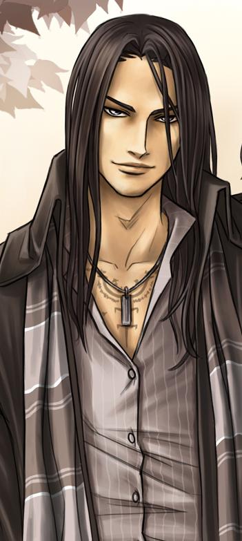 anime long dark hair silver grey