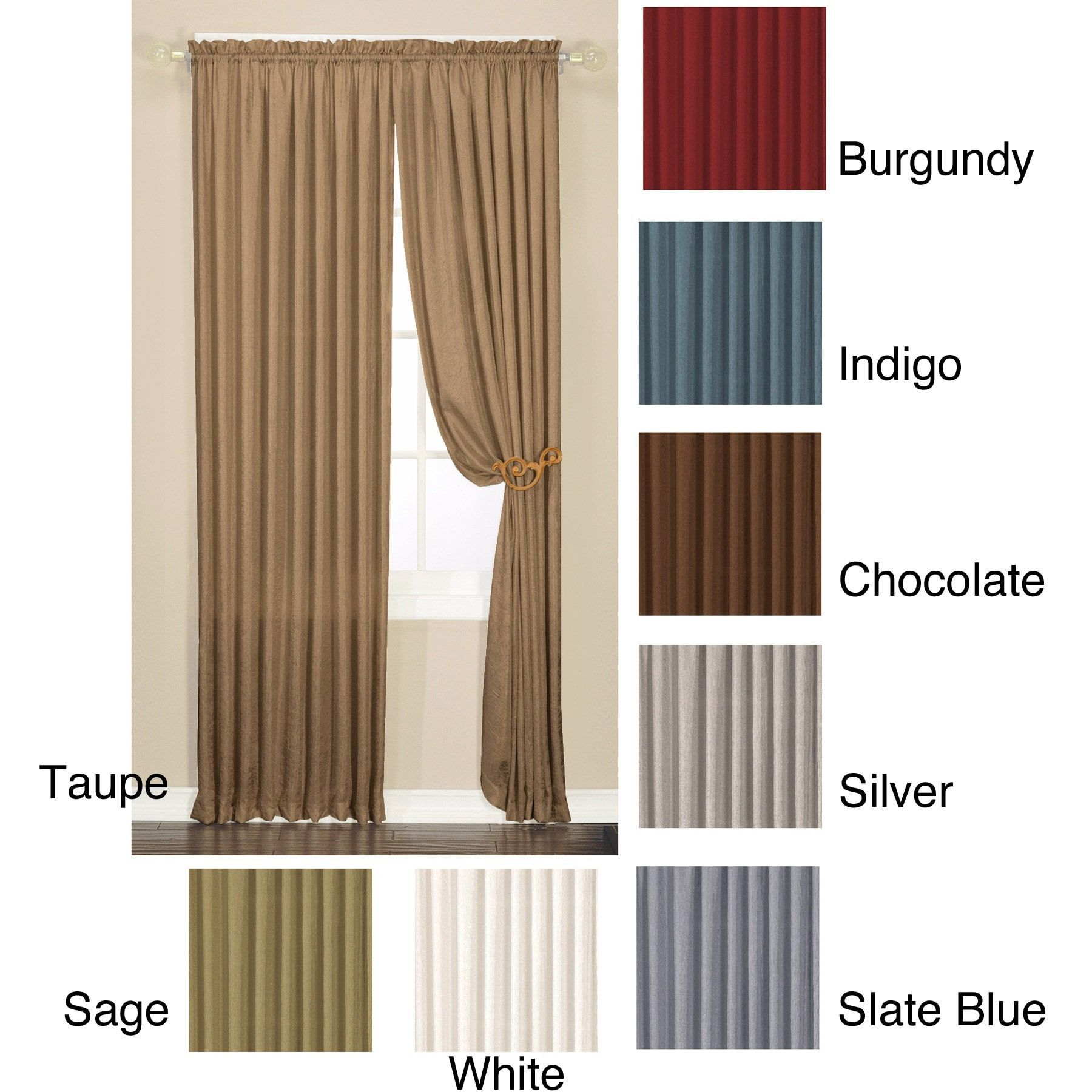 Faux Silk Luster Crushed Curtain Panel Pair (Sage 84-inch), Green ...