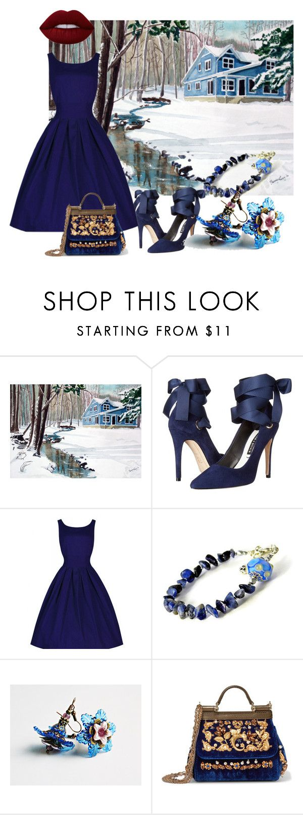 """""""Footsteps in the Snow"""" by mariannemerceria ❤ liked on Polyvore featuring Alice + Olivia, Chicnova Fashion, Dolce&Gabbana, Lime Crime, art and MarianneMerceria"""