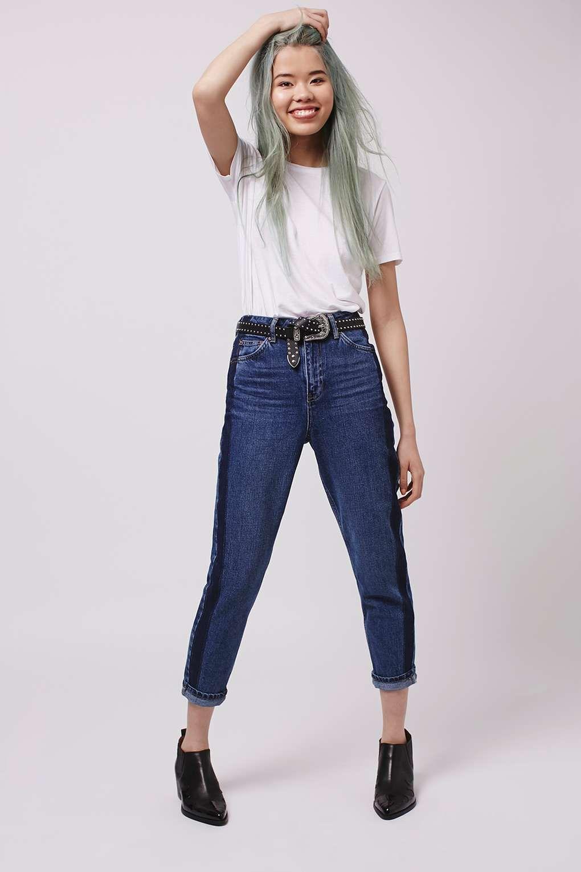 ced2a3a6ad93c MOTO Side Stripe Mom Jeans