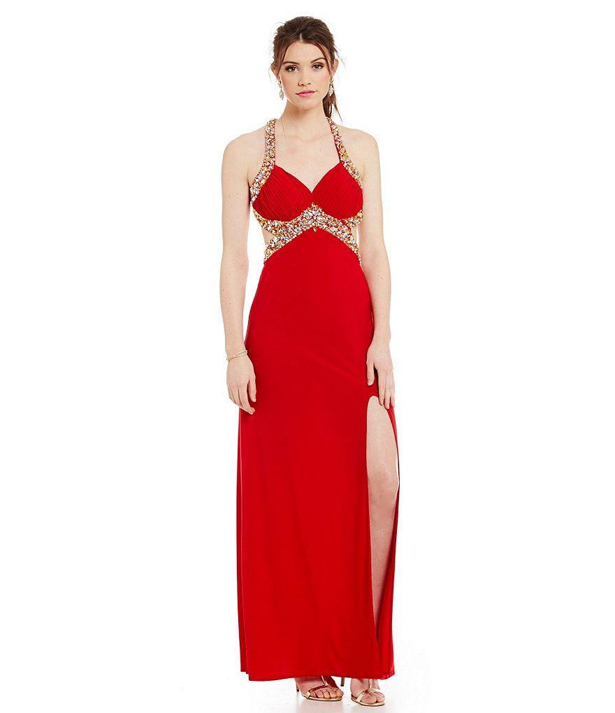 Blondie Nites Beaded Trim Halter Neckline Gown | Prom