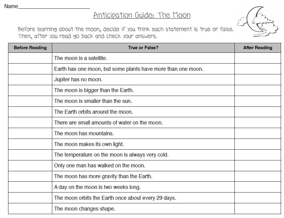 anticipation guide for the moon theorganizedclassroomblog com rh pinterest ca Reading Anticipation Guide in PDF Printable Blank Anticipation Guide