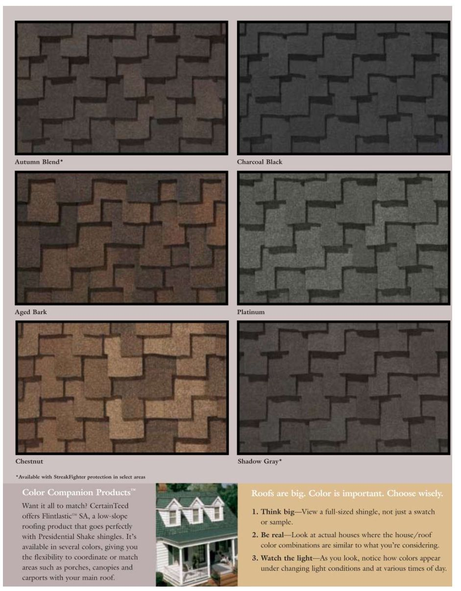 Best Certainteed Presidential Shingle Colors Shingle Colors 400 x 300