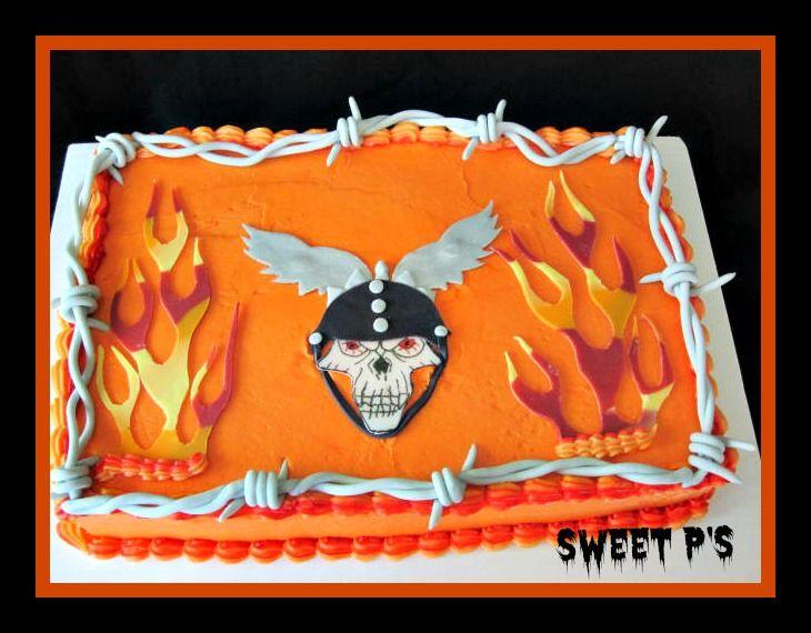 Buttercream sheet cake with fondant wings, skull, flames ...