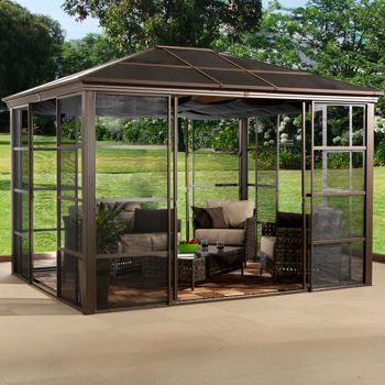 Sojag Castel Screen Room With Ceiling Canopy Aluminum Gazebo Portable Gazebo Hardtop Gazebo