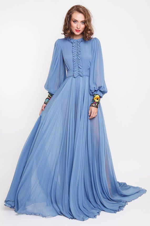Details: Silk chiffon Maxi-Kleid, um den Hals, breit, ausgestellte ...
