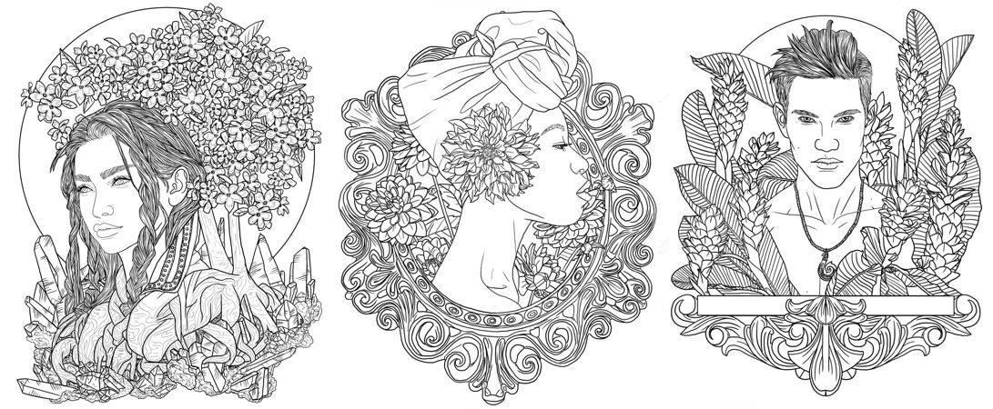 Desert Rose Dahlia And Ginger Coloring Page Samples From The Efflorescence Coloring Book On Kickstarter It Has 40 Illust Coloring Books Coloring Pages Color