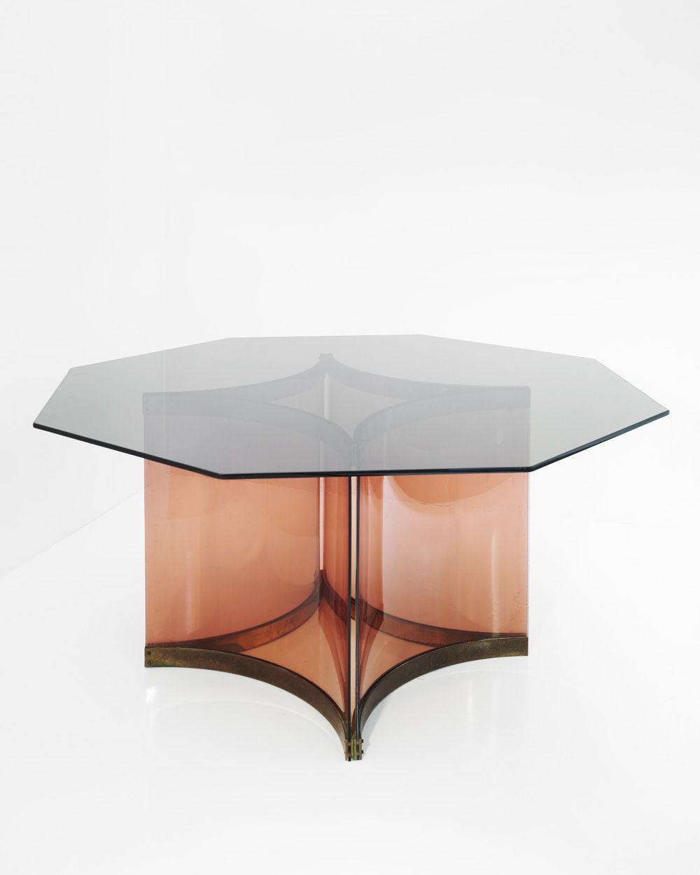 Alessandro Albrizzi Smoked Glass Top Octagonal Dining Table With Perspex Base In Smoked Rose And Brass