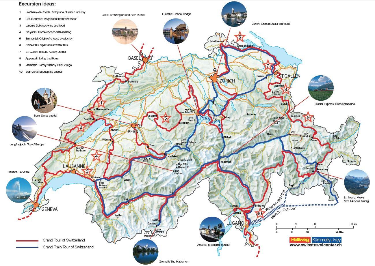 Grand Tour Of Switzerland Map Switzerland Tour Switzerland