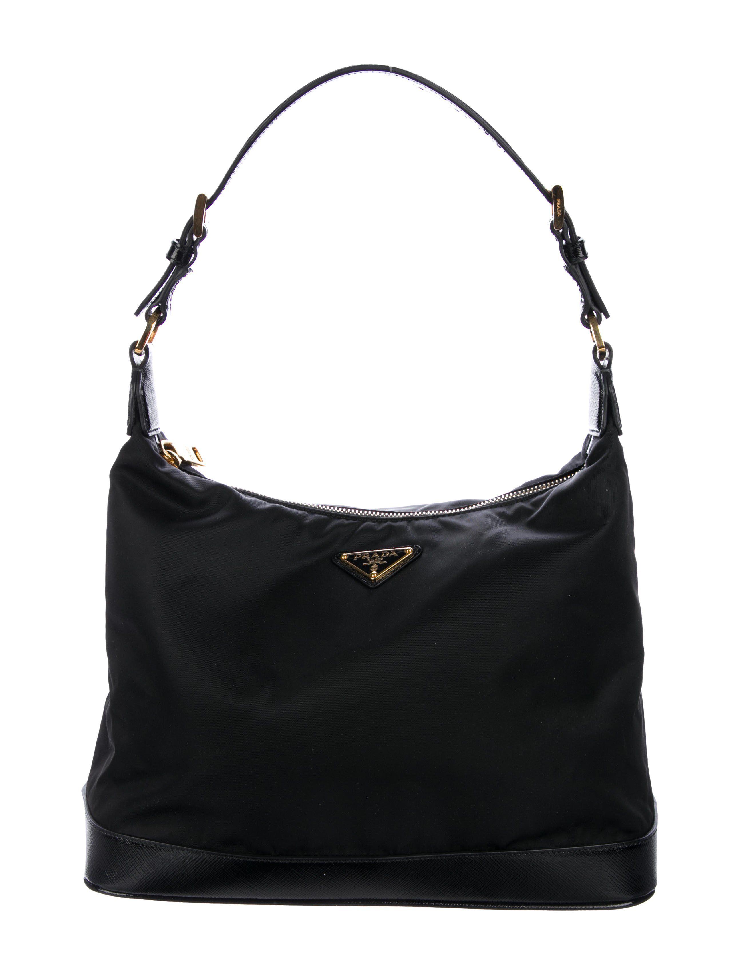 700fc35d47b Black Tessuto nylon Prada hobo with gold-tone hardware, single flat shoulder  strap,