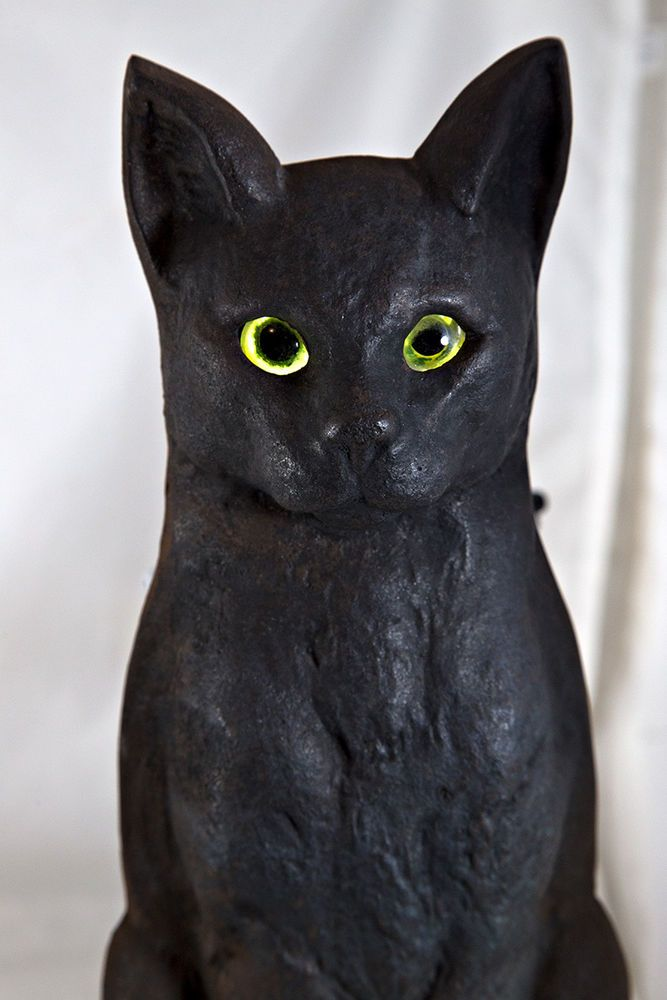Antique Cast Iron Cat Andirons 3007 Signed With Maker S Mark W Green Glass Eyes Antique Cast Iron Antiques Makers Mark