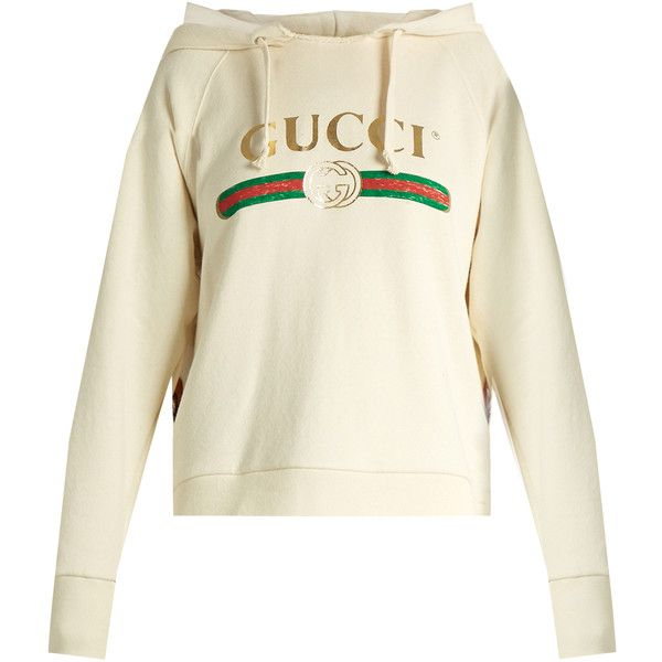 Gucci Logo-print cotton-jersey hooded sweatshirt ($2,600) ❤ liked on  Polyvore. Embroidered ...