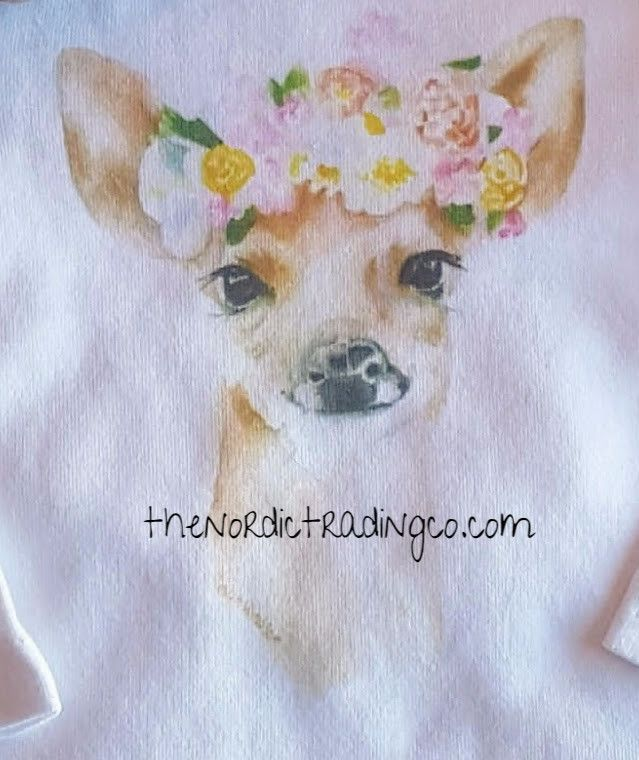 37d31ba65f5 Meet Fawn she is a watercolor artist image on a high Organic LS Onesie  Bodysuit   Romper. Fawn is wearing a beautiful Floral Crown.