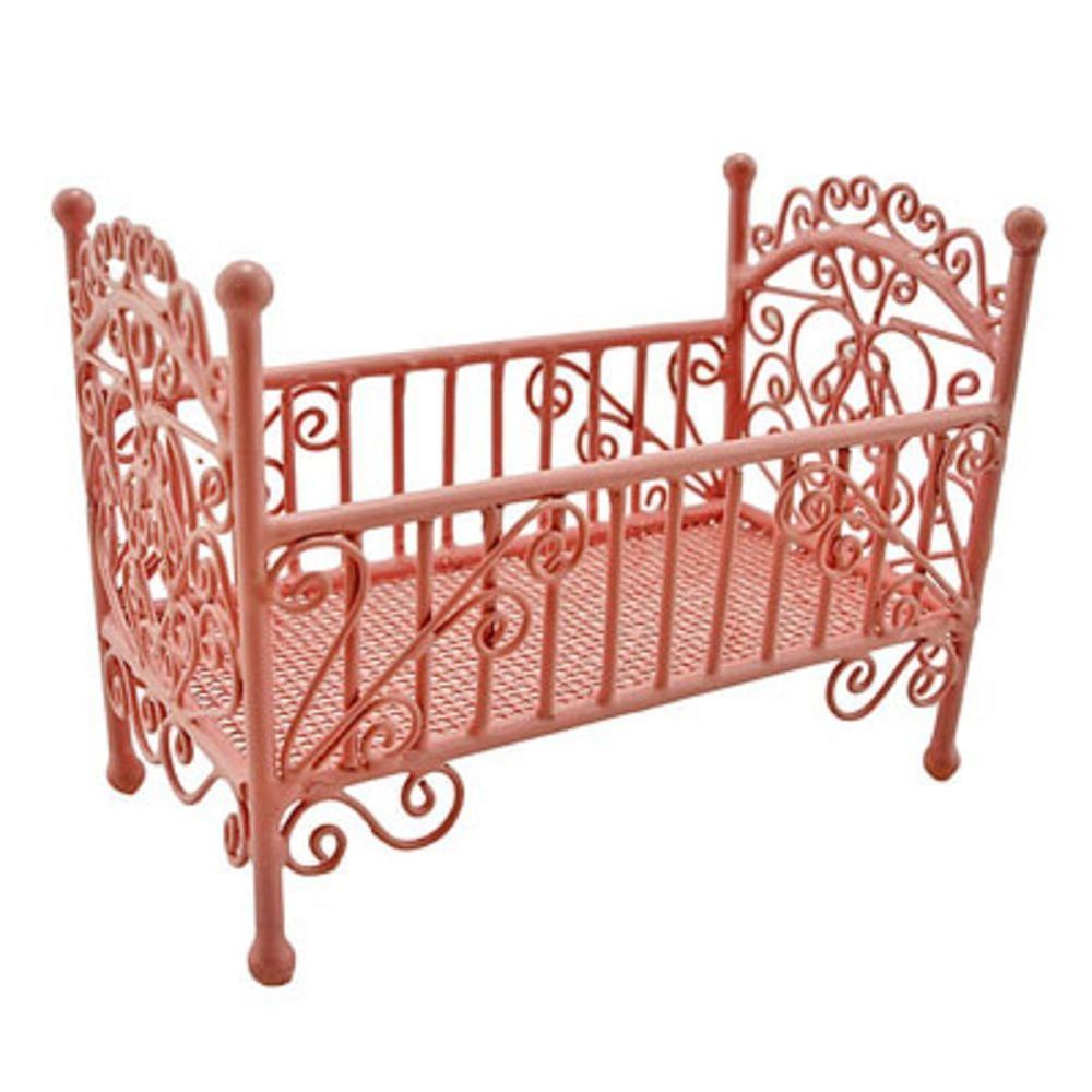 New Wooden Nursery Cradle Cot Baby Crib for 1//12 Dolls House Miniature Furniture