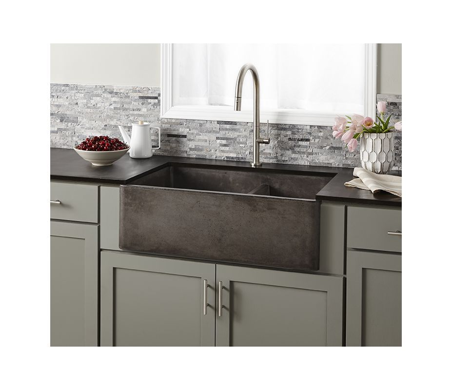 Native Trails Nskd3321 S Slate Farmhouse 33 Double Basin Nativestone Kitchen Sink For Undermount Or Farmhouse Installations With 60 40 Split And Apron Front Farmhouse Sink Kitchen Apron Front Kitchen Sink Kitchen Remodel
