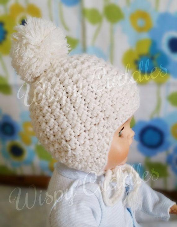 Baby girl hat pom pom hat newborn hat crochet hat by WispyCuddles