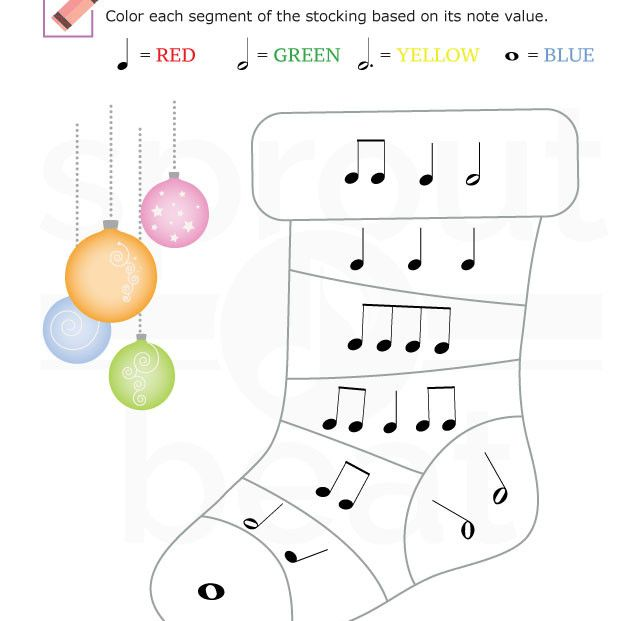Music Worksheets Holidays Note Value 002 Violin Music